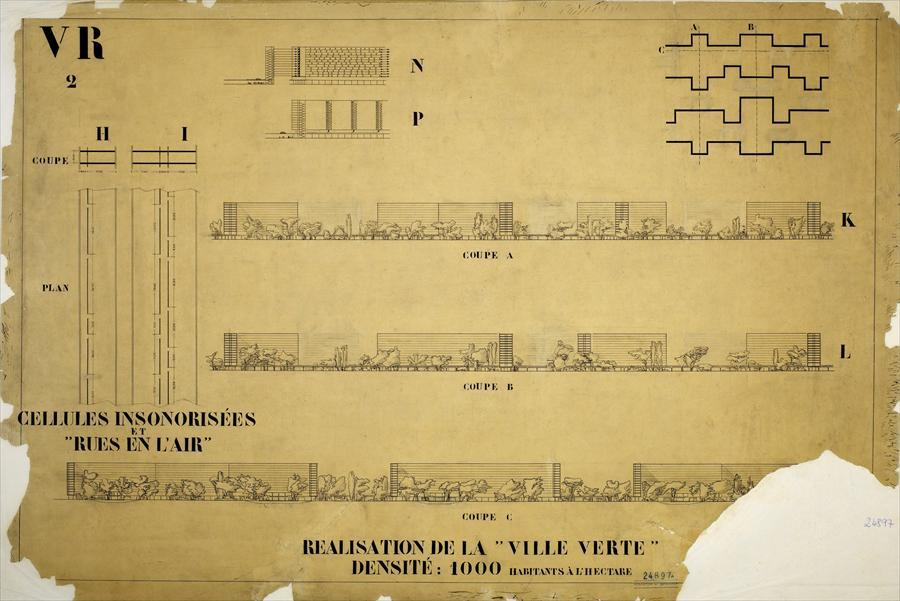 Stencil Faces in Le Corbusier Plans - Ville Radieuse