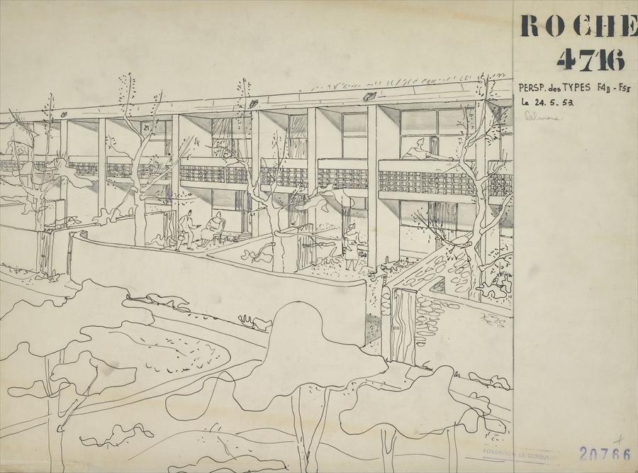 Stencil Faces in Le Corbusier Plans - La Rochelle
