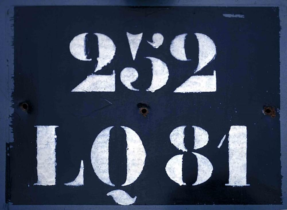 Stencil Faces used by Le Corbusier, Licence plate, Paris, 1972