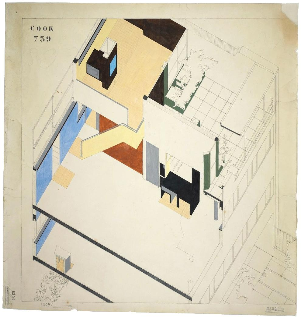 Stencil Faces in Le Corbusier Plans - Maison Cook